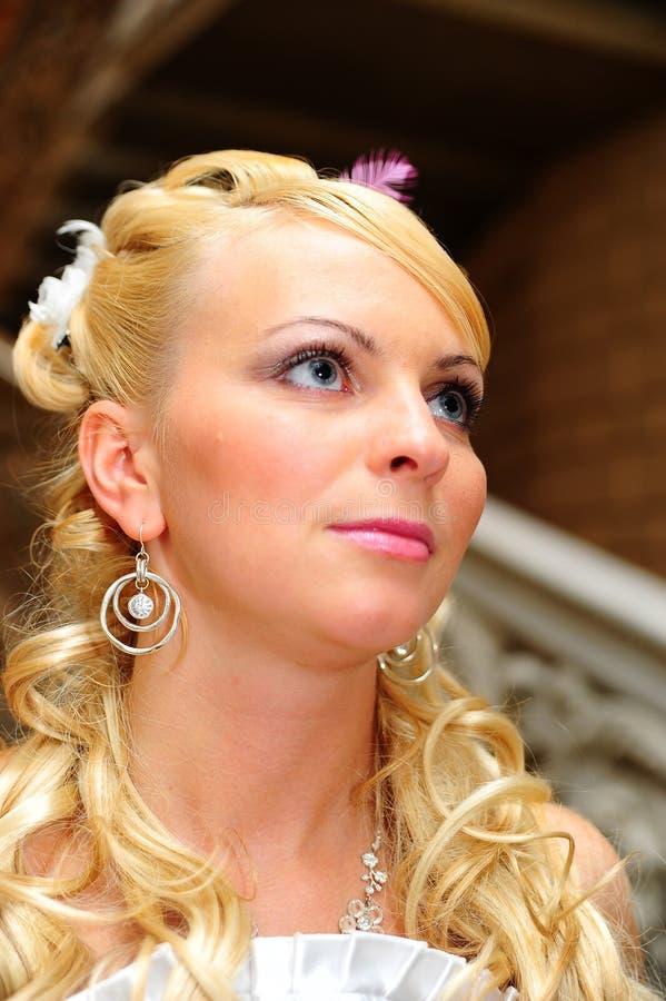 Ξανθός με ένα εορταστικό hairdo στοκ φωτογραφία με δικαίωμα ελεύθερης χρήσης