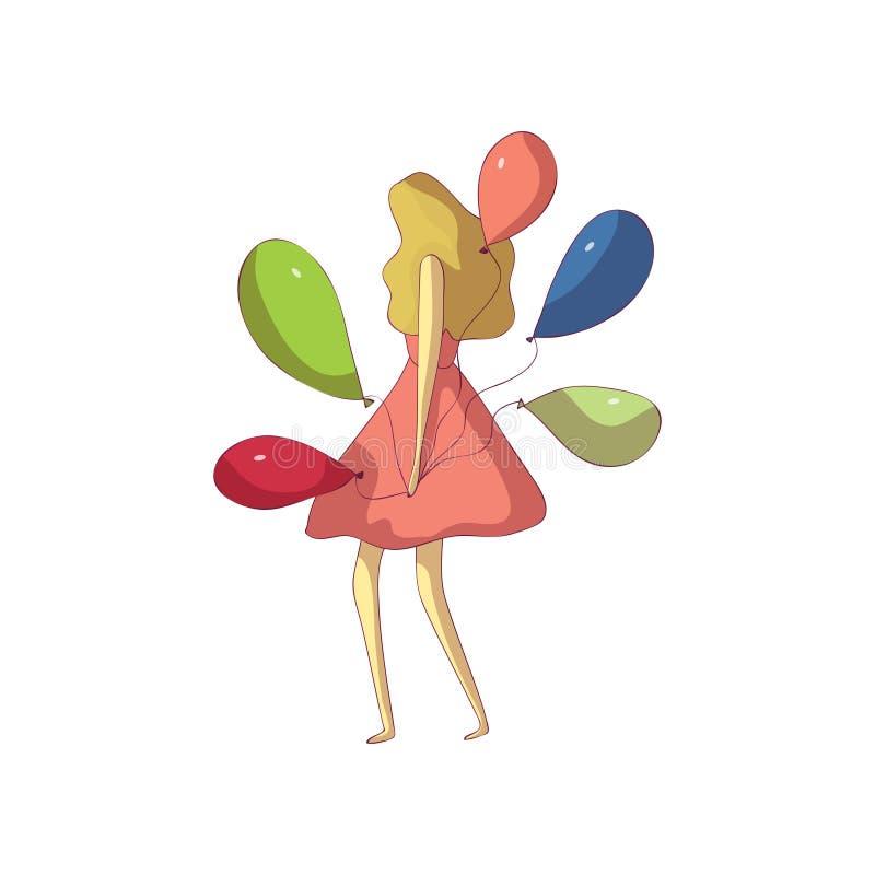 Ξανθός σε ένα θαυμάσιο φόρεμα κρατά τα μπαλόνια E διανυσματική απεικόνιση