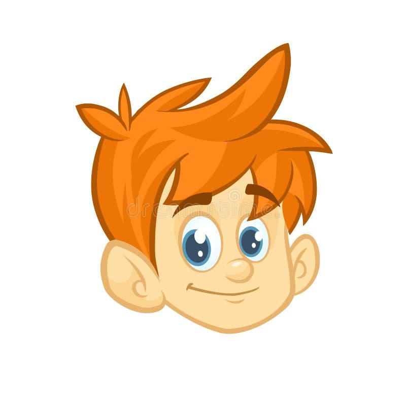 Ξανθό αγόρι τρίχας κινούμενων σχεδίων μικρό κόκκινο Διανυσματική απεικόνιση του νέου εφήβου που περιγράφεται Επικεφαλής εικονίδιο ελεύθερη απεικόνιση δικαιώματος