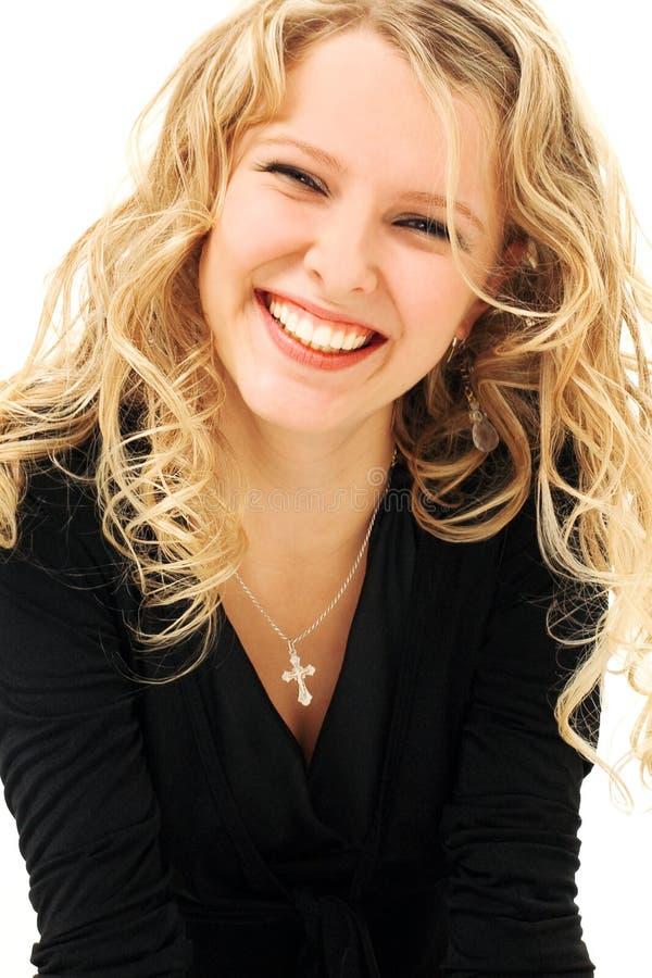 ξανθό γέλιο ομορφιάς στοκ εικόνα με δικαίωμα ελεύθερης χρήσης