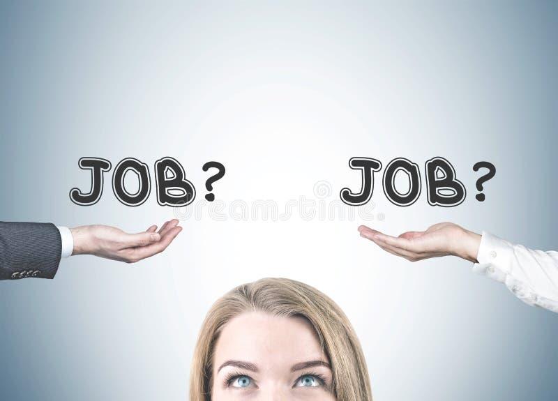 Ξανθό κεφάλι γυναικών, επιλογή εργασίας στοκ εικόνα με δικαίωμα ελεύθερης χρήσης