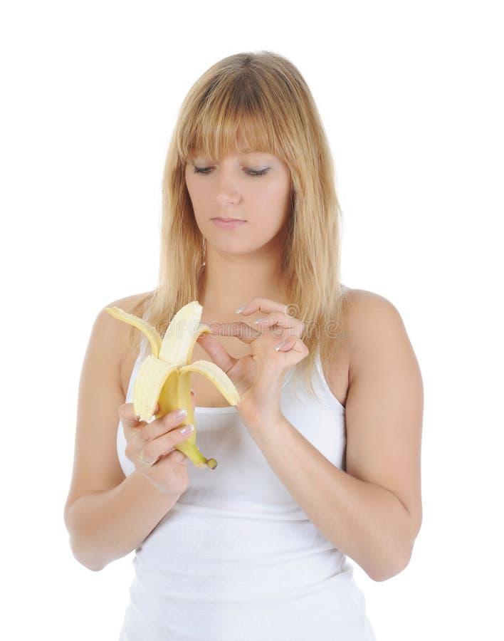 ξανθό κορίτσι μπανανών στοκ φωτογραφία με δικαίωμα ελεύθερης χρήσης