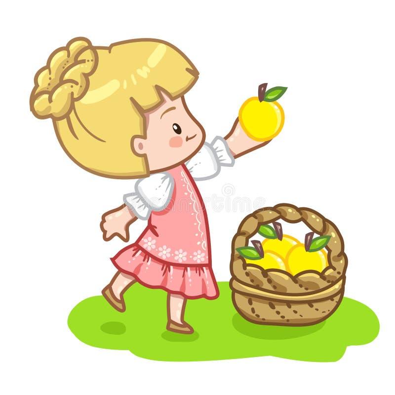 ξανθό κορίτσι στο ρόδινο καπέλο φορεμάτων που κρατά το κίτρινο μήλο διανυσματική απεικόνιση