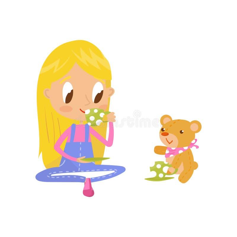 Ξανθό παιχνίδι μικρών κοριτσιών με τη teddy αρκούδα της στο κόμμα τσαγιού, χαριτωμένη διανυσματική απεικόνιση χαρακτήρα κινουμένω διανυσματική απεικόνιση