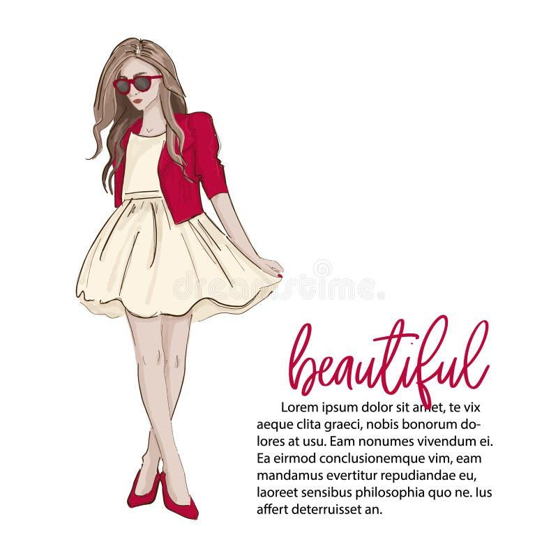 Ξανθό πρότυπο φορώντας χαριτωμένο φόρεμα κοριτσιών, υψηλά τακούνια και κόκκινο σακάκι Μοντέρνη εξάρτηση περιοδικών Το σύγχρονο κα διανυσματική απεικόνιση