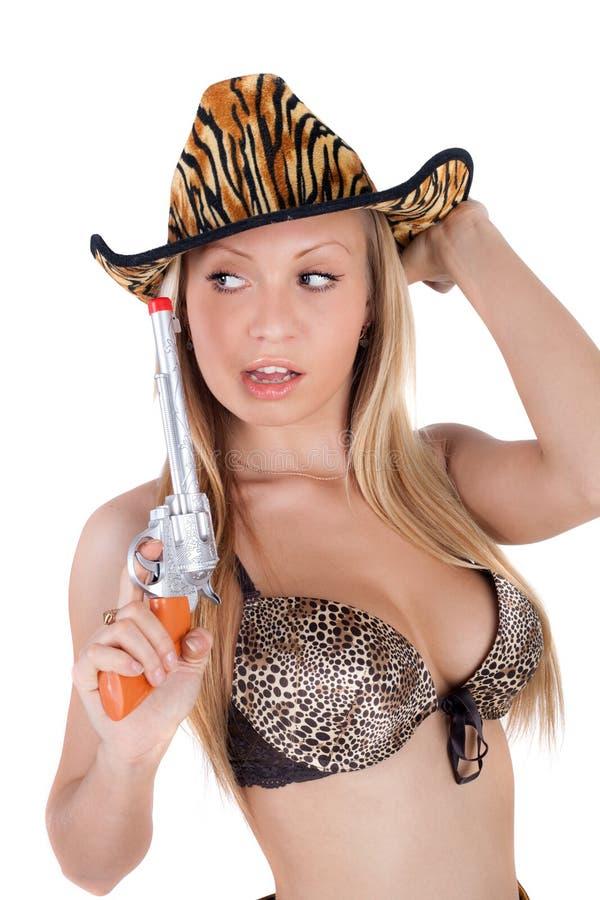 ξανθό cowgirl προκλητικό στοκ φωτογραφία με δικαίωμα ελεύθερης χρήσης