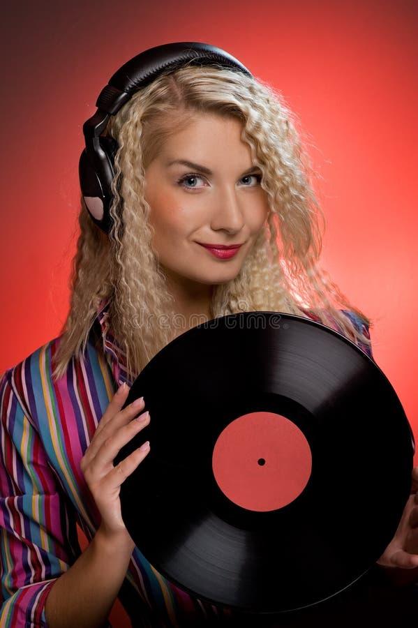 ξανθό DJ στοκ εικόνες