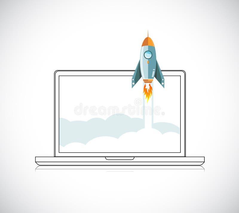 Ξεκινήματος σύγχρονο επίπεδο σχέδιο Roket έννοιας διαστημικό απεικόνιση αποθεμάτων