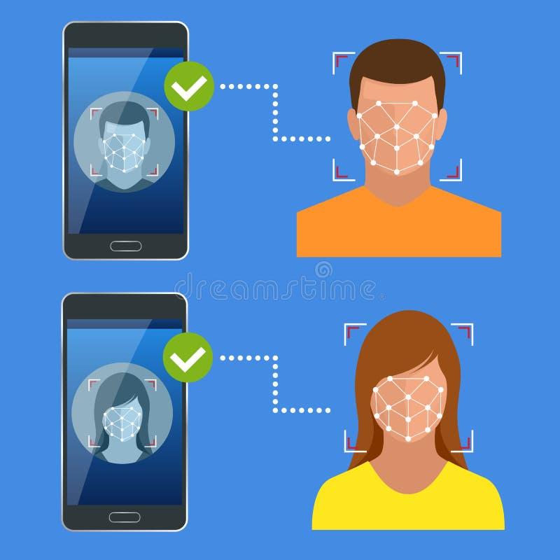 Ξεκλείδωμα του smartphone με το βιομετρικό του προσώπου προσδιορισμό, βιομετρικός προσδιορισμός, του προσώπου έννοια συστημάτων α διανυσματική απεικόνιση