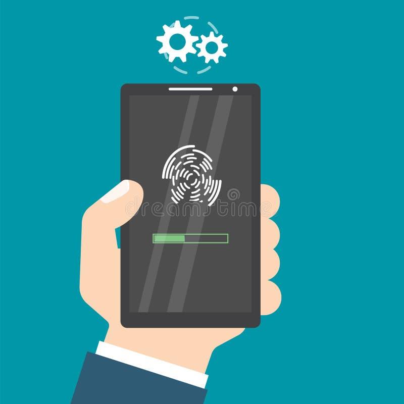 Ξεκλειδωμένος με το κουμπί δακτυλικών αποτυπωμάτων Πρόσβαση μέσω του δάχτυλου smartphone χεριών Έννοια έγκρισης χρηστών απεικόνιση αποθεμάτων