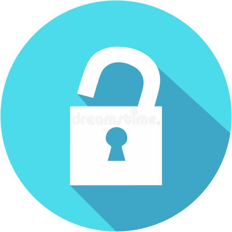 Ξεκλειδώστε το οριζόντια μπλε απλό εικονίδιο με τη μακριά σκιά Επίπεδο ύφος σχεδίου ελεύθερη απεικόνιση δικαιώματος