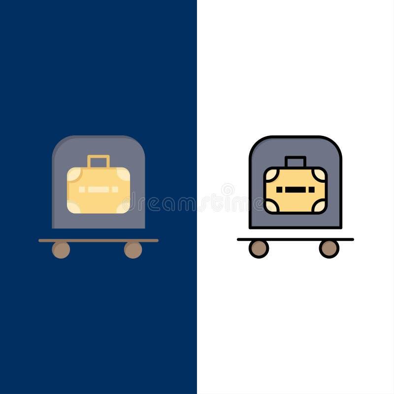 Ξενοδοχείο, αποσκευές, καροτσάκι, εικονίδια τσαντών Επίπεδος και γραμμή γέμισε το καθορισμένο διανυσματικό μπλε υπόβαθρο εικονιδί διανυσματική απεικόνιση