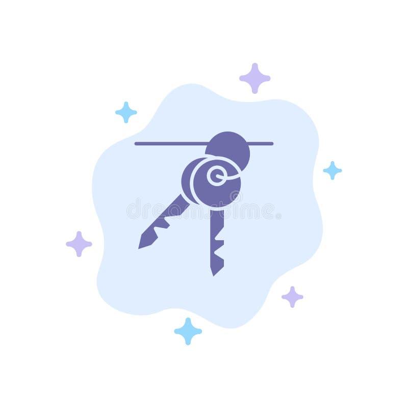 Ξενοδοχείο, κλειδί, δωμάτιο, μπλε εικονίδιο κλειδιών στο αφηρημένο υπόβαθρο σύννεφων ελεύθερη απεικόνιση δικαιώματος