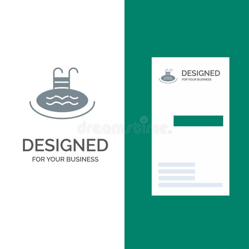 Ξενοδοχείο, λίμνη, κολύμβηση, γκρίζο σχέδιο λογότυπων υπηρεσιών και πρότυπο επαγγελματικών καρτών διανυσματική απεικόνιση