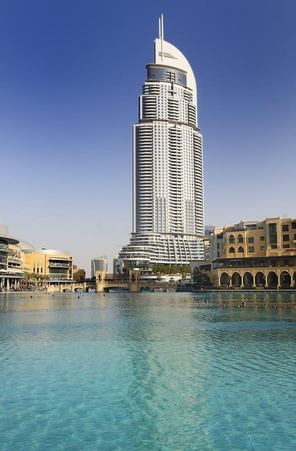 Ξενοδοχείο προσφωνήσεων στο στο κέντρο της πόλης Ντουμπάι στοκ εικόνα