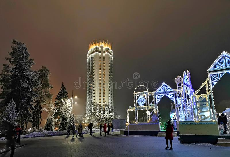 Ξενοδοχείο του Καζακστάν στο Αλμάτι, Καζακστάν για Christmass στοκ φωτογραφία με δικαίωμα ελεύθερης χρήσης