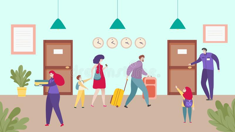 Ξενοδοχείο, χαρούμενα οικογενειακά ταξίδια μαζί, check in people, check in service people, απεικόνιση διανύσματος απεικόνιση αποθεμάτων