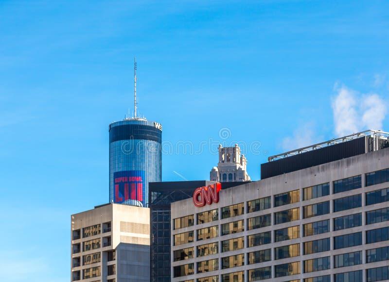 Ξενοδοχείο CNN και Peachtree Plaza στοκ φωτογραφίες