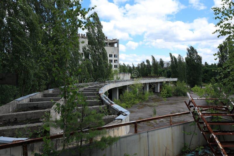 Ξενοδοχείο, ακραίος τουρισμός στο Τσέρνομπιλ στοκ εικόνα