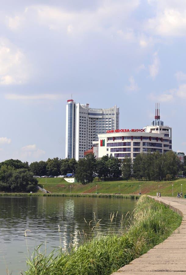 Ξενοδοχείο Λευκορωσία και η οικοδόμηση της τράπεζας Μόσχα-Μινσκ στοκ εικόνες με δικαίωμα ελεύθερης χρήσης