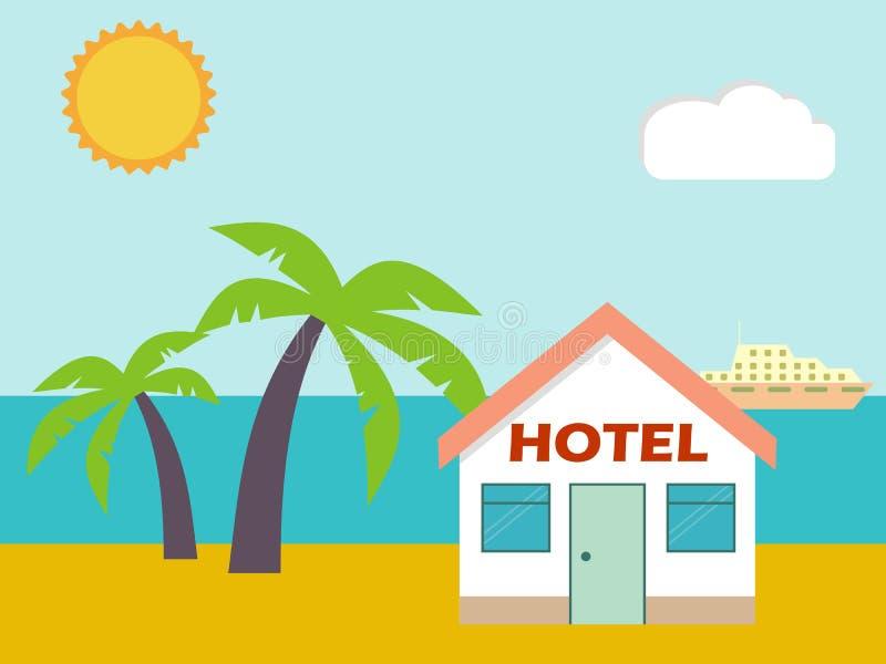 Ξενοδοχείο σπιτιών παραλιών Επίπεδη σκηνή με το σπίτι, τη θάλασσα, τον ήλιο, τα πρόβατα και το PA απεικόνιση αποθεμάτων