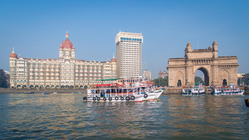 Ξενοδοχείο Taj και πύλη της Ινδίας στοκ εικόνες με δικαίωμα ελεύθερης χρήσης