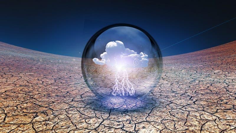 Ξεράνετε τη ραγισμένη γη με το ενιαίο σύννεφο στο εμπορευματοκιβώτιο διανυσματική απεικόνιση