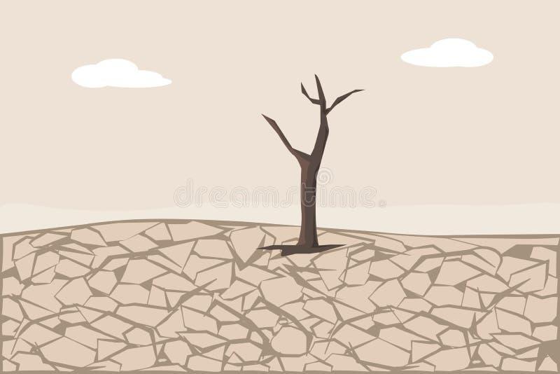 Ξεράνετε το ραγισμένο έδαφος Εδαφολογικές διάβρωση και ερήμωση απεικόνιση αποθεμάτων
