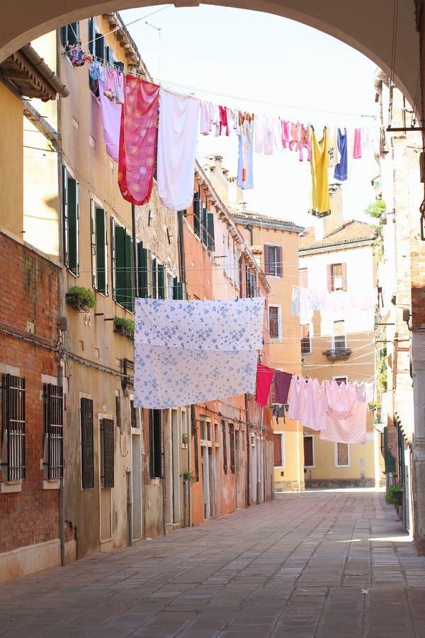 Ξεραίνοντας πλυντήριο, κατάπληξη της Βενετίας στοκ εικόνες