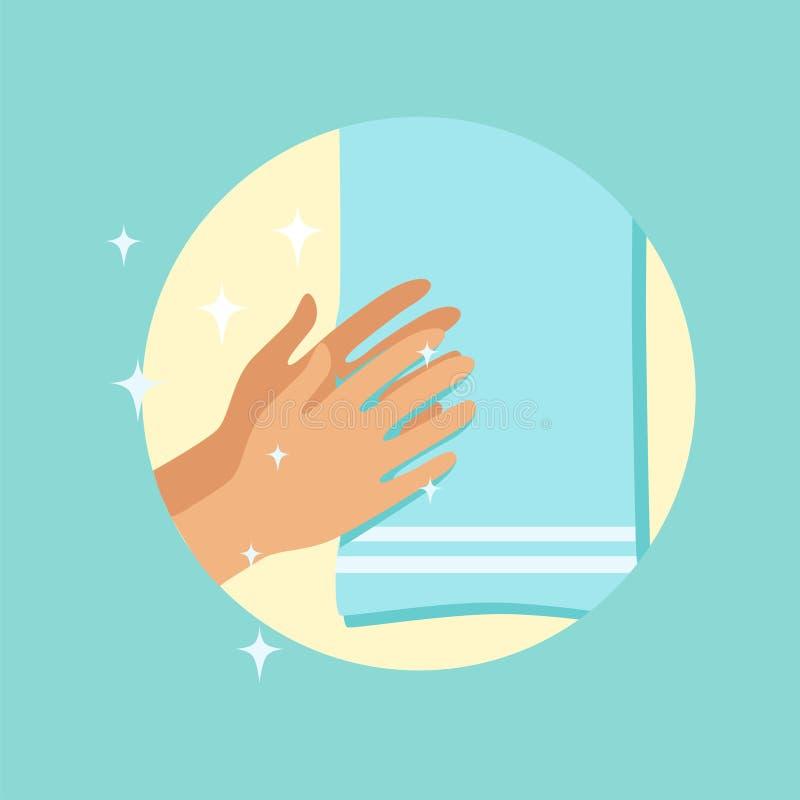 Ξεραίνοντας χέρια με μια πετσέτα γύρω από τη διανυσματική απεικόνιση ελεύθερη απεικόνιση δικαιώματος