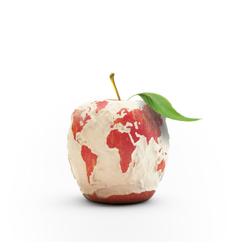 Ξεφλουδισμένος παγκόσμιος χάρτης μήλων στοκ εικόνες