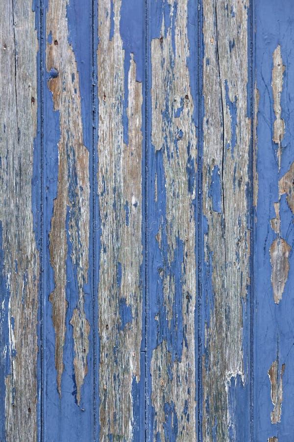 Ξεφλούδισμα του μπλε χρώματος στην ξύλινο πόρτα ή το φράκτη στοκ φωτογραφίες