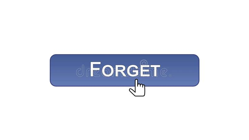 Ξεχάστε το κουμπί διεπαφών Ιστού που χτυπιέται με το δρομέα ποντικιών, ιώδες χρώμα, λάθος απεικόνιση αποθεμάτων