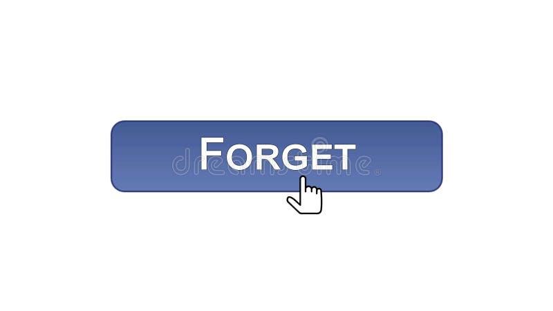 Ξεχάστε το κουμπί διεπαφών Ιστού που χτυπιέται με το δρομέα ποντικιών, ιώδες χρώμα, λάθος διανυσματική απεικόνιση