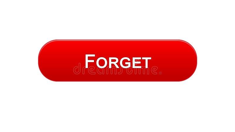 Ξεχάστε το κόκκινο χρώμα κουμπιών διεπαφών Ιστού, σχέδιο ιστοσελίδων, εφαρμογή ανοικτής γραμμής απεικόνιση αποθεμάτων