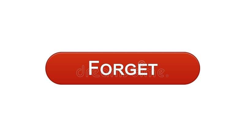 Ξεχάστε το κόκκινο χρώμα κρασιού κουμπιών διεπαφών Ιστού, σχέδιο ιστοσελίδων, σε απευθείας σύνδεση app ελεύθερη απεικόνιση δικαιώματος
