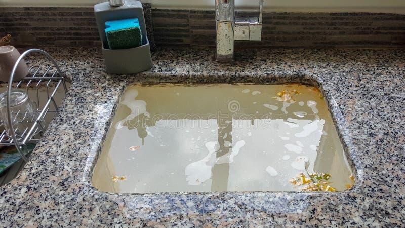 Ξεχειλίζοντας νεροχύτης κουζινών, φραγμένος αγωγός στοκ εικόνες