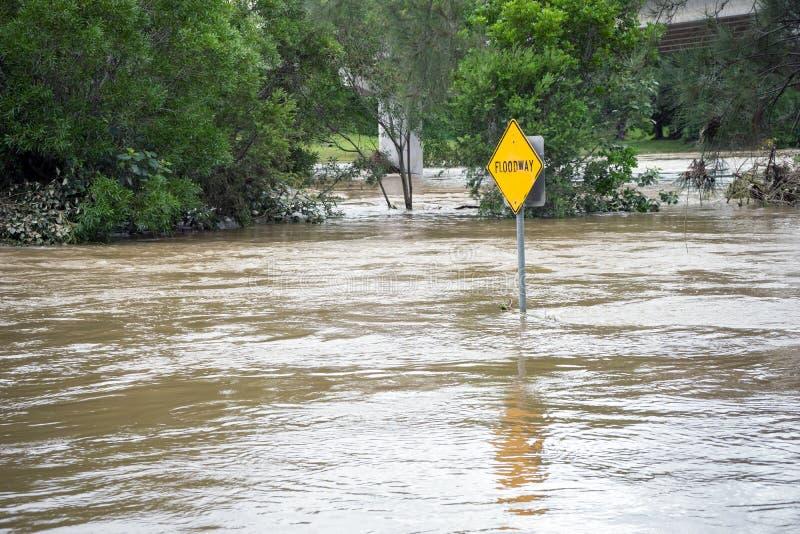 Ξεχειλίζοντας ποταμός μετά από έναν κυκλώνα