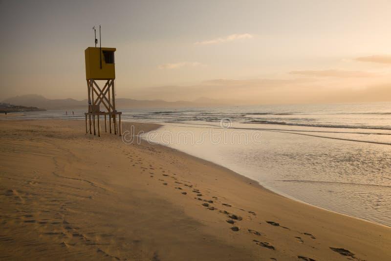 Ξημερώματα στην παραλία Sotavento σε Fuerteventura, Κανάρια νησιά, Ισπανία στοκ εικόνες με δικαίωμα ελεύθερης χρήσης