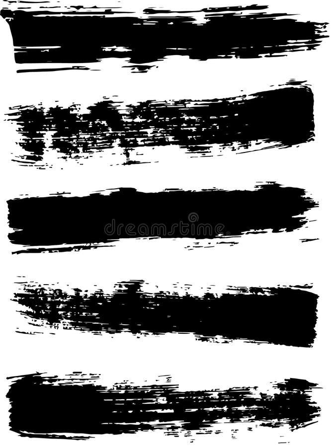 Ξηρά κτυπήματα βουρτσών με μια ευρεία βούρτσα Μαύρο ξηρό κτύπημα Grunge απεικόνιση αποθεμάτων