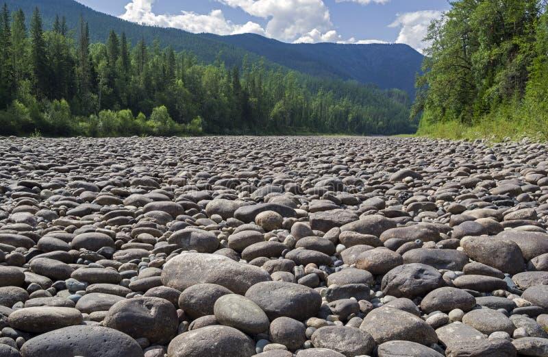 Ξηρά πετρώδης κοίτη του ποταμού στοκ εικόνα