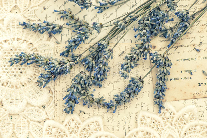 Ξηρά lavender λουλούδια και εκλεκτής ποιότητας κάρτες αγάπης στοκ εικόνες με δικαίωμα ελεύθερης χρήσης