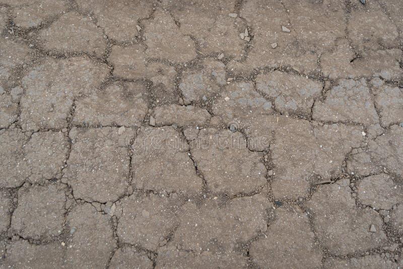 Ξηρασία Ραγισμένο έδαφος με την ξηρά χλόη o στοκ φωτογραφία