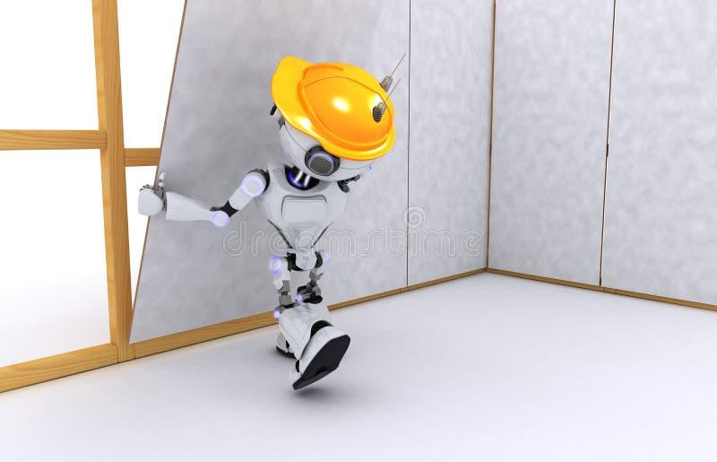 Ξηρός οικοδόμος τοίχων ρομπότ ελεύθερη απεικόνιση δικαιώματος