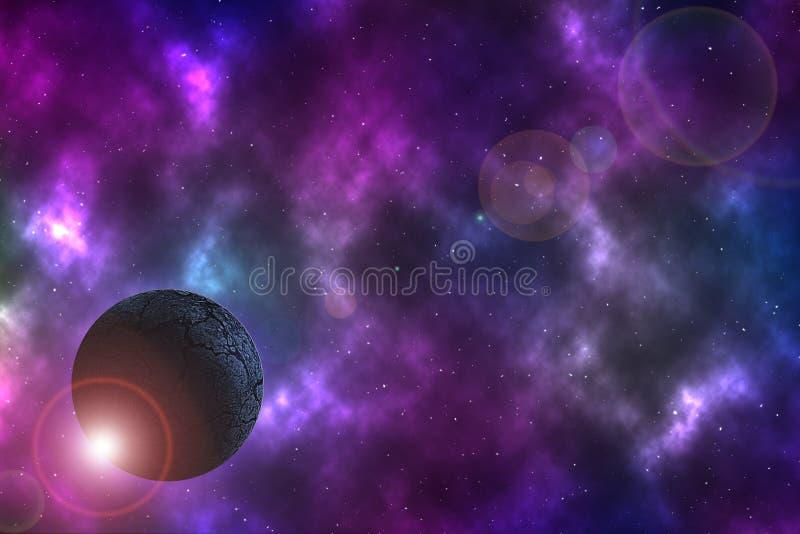 Ξηρός πλανήτης στο διάστημα διανυσματική απεικόνιση
