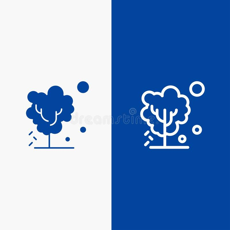 Ξηρός, σφαιρικός, χώμα, δέντρο, θερμαίνοντας γραμμή και στερεά γραμμή εμβλημάτων εικονιδίων Glyph μπλε και στερεό μπλε έμβλημα ει ελεύθερη απεικόνιση δικαιώματος