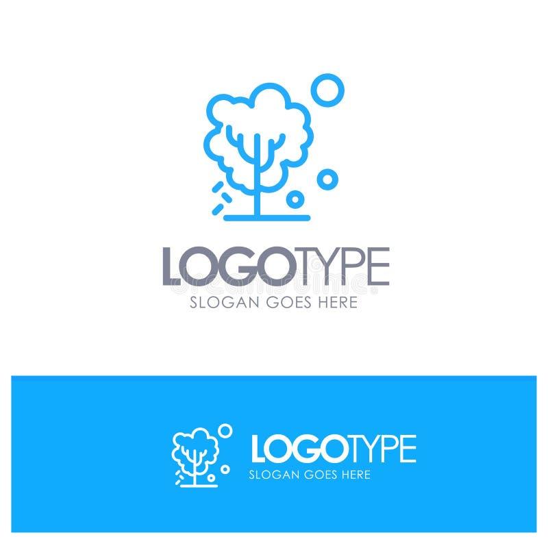 Ξηρός, σφαιρικός, χώμα, δέντρο, θερμαίνοντας μπλε λογότυπο περιλήψεων με τη θέση για το tagline διανυσματική απεικόνιση