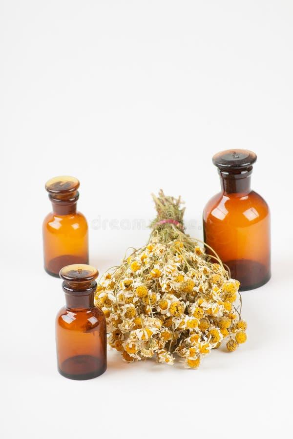 Ξηρός chamomile και μπουκάλια στοκ εικόνα με δικαίωμα ελεύθερης χρήσης