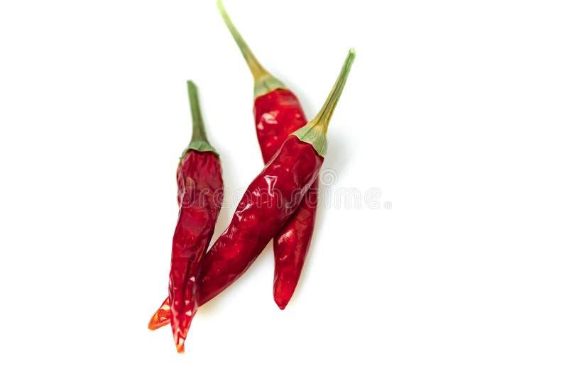 Ξηρό κόκκινο πιπέρι του Cayenne τσίλι ή τσίλι που απομονώνεται στην άσπρη διακοπή υποβάθρου στοκ φωτογραφία