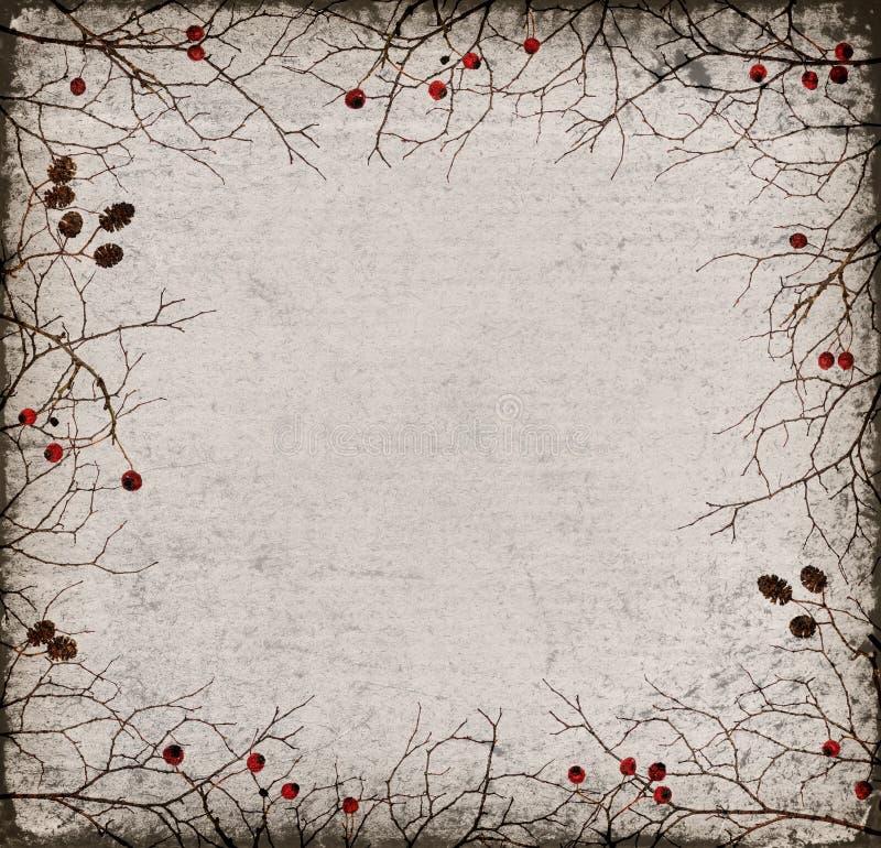 Ξηρό πλαίσιο κλαδίσκων με τους κώνους και τα μούρα σε παλαιό χαρτί στοκ φωτογραφία με δικαίωμα ελεύθερης χρήσης